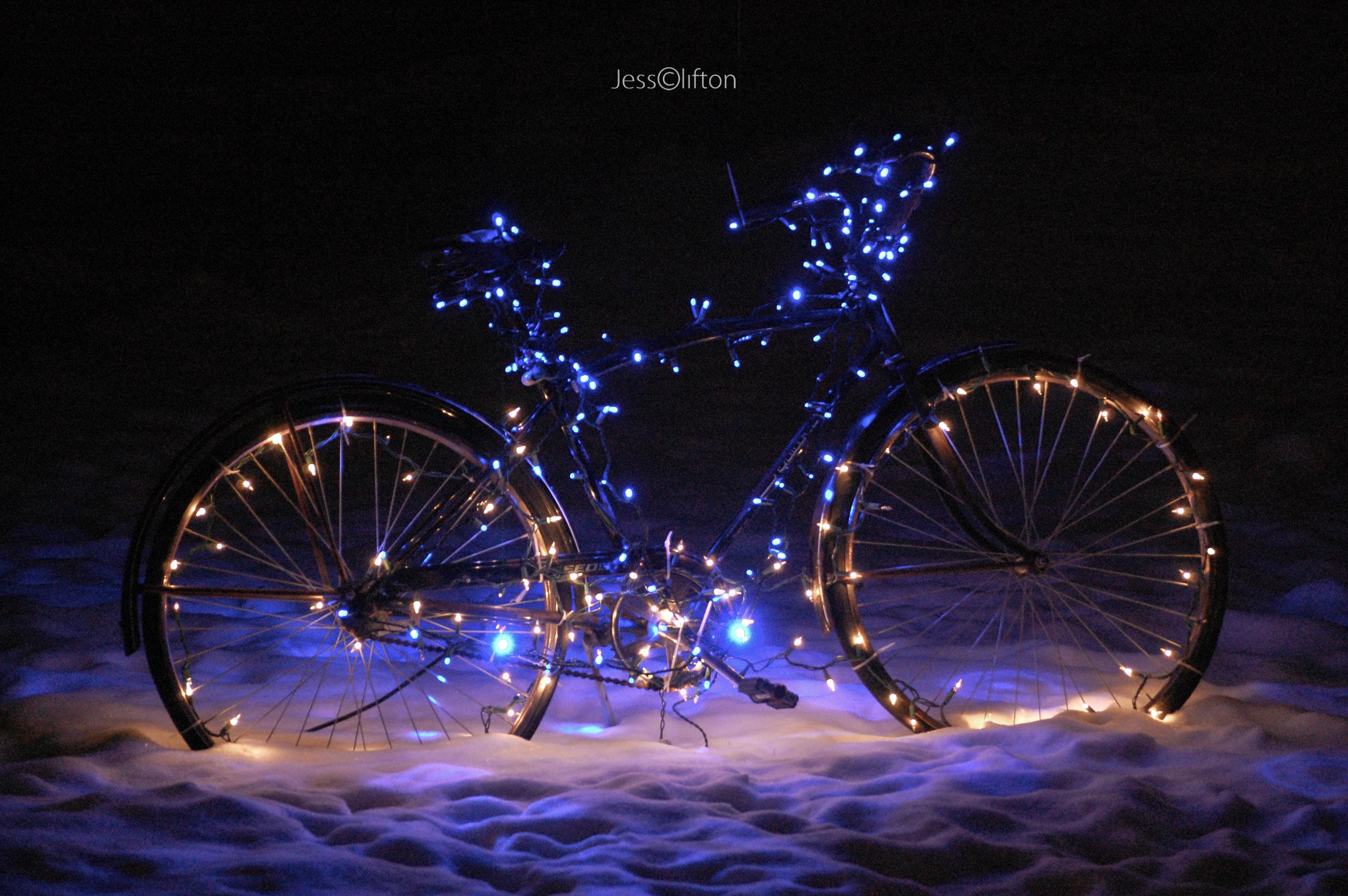 Christmas Light Bike | Jess Clifton Photography