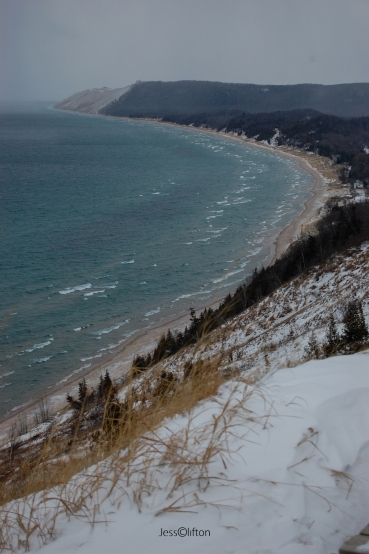Empire Bluffs Winter Lake Michigan