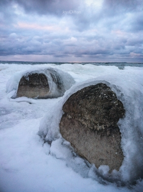 Ice Covered Beach Rocks